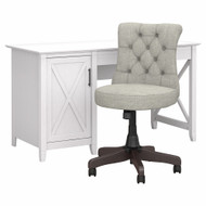 Bush Furniture Key West 54W Computer Desk with Storage and Mid Back Tufted Office Chair Pure White Oak - KWS020WT