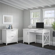 Bush Key West 54W Computer Desk with Storage and 2 Drawer Lateral File Cabinet Pure White Oak - KWS008WT