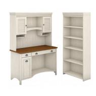 Bush Furniture Fairview Computer Desk w Hutch and Bookcase Antique White - STF004AW