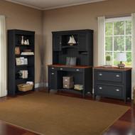 Bush Furniture Fairview Computer Desk w Hutch, Bookcase and Lateral File Antique Black - STF008AB
