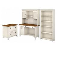 Bush Furniture Fairview Computer Desk w Hutch, Bookcase and Lateral File Antique White - STF008AW