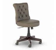 Bush Furniture Fairview Mid Back Tufted Office Chair in Washed Gray Leather- FV018WG