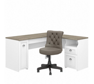 Bush Furniture Fairview 60W L Shaped Desk and Chair Set in Pure White and Shiplap Gray - FV019G2W
