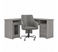 Bush Furniture Cabot 60W L Shaped Computer Desk with Mid Back Leather Box Chair in Modern Gray - CAB059MG