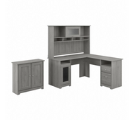 Bush Furniture Cabot L Shaped Desk with Hutch and Small Storage Cabinet with Doors in Modern Gray- CAB016MG