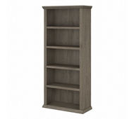 Bush Furniture Yorktown Tall 5 Shelf Bookcase in Restored Gray - WC40666-03