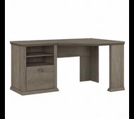 Bush Furniture Yorktown 60W Corner Desk with Storage in Restored Gray - WC40615-03