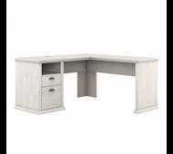 Bush Furniture Yorktown 60W L Shaped Desk with Storage in Linen White Oak - WC40430-03
