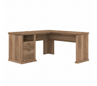 Bush Furniture Yorktown 60W L Shaped Desk with Storage in Reclaimed Pine - WC40530-03