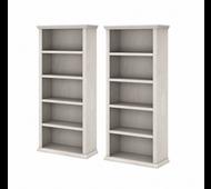 Bush Furniture Yorktown Tall 5 Shelf Bookcase Set of 2 in Linen White Oak - YRK012LW