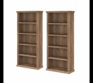 Bush Furniture Yorktown Tall 5 Shelf Bookcase Set of 2 in Reclaimed Pine - YRK012RCP