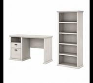 Bush Furniture Yorktown 50W Home Office Desk with 5 Shelf Bookcase in Linen White Oak - YRK010LW