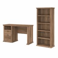 Bush Furniture Yorktown 50W Home Office Desk with 5 Shelf Bookcase in Reclaimed Pine - YRK010RCP