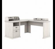 Bush Furniture Yorktown 60W L Shaped Desk with Storage and Organizers in Linen White Oak - YRK013LW