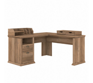 Bush Furniture Yorktown 60W L Shaped Desk with Storage and Organizers in Reclaimed Pine - YRK013RCP