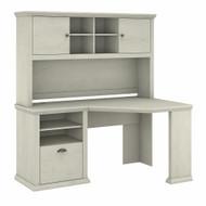 Bush Furniture Yorktown 60W Corner Desk with Hutch in Linen White Oak - YRK008LW
