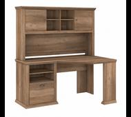 Bush Furniture Yorktown 60W Corner Desk with Hutch in Reclaimed Pine - YRK008RCP