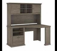 Bush Furniture Yorktown 60W Corner Desk with Hutch in Restored Gray - YRK008RTG