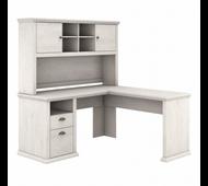 Bush Furniture Yorktown 60W L Shaped Desk with Hutch in Linen White Oak - YRK001LW
