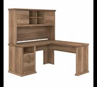 Bush Furniture Yorktown 60W L Shaped Desk with Hutch in Reclaimed Pine - YRK001RCP