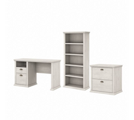 Bush Furniture Yorktown 50W Home Office Desk with Lateral File Cabinet and 5 Shelf Bookcase in Linen White Oak - YRK011LW