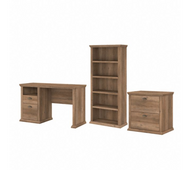 Bush Furniture Yorktown 50W Home Office Desk with Lateral File Cabinet and 5 Shelf Bookcase in Reclaimed Pine - YRK011RCP
