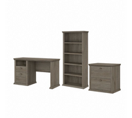 Bush Furniture Yorktown 50W Home Office Desk with Lateral File Cabinet and 5 Shelf Bookcase in Restored Gray - YRK011RTG
