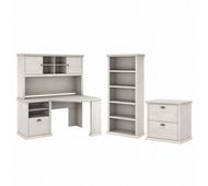 Bush Furniture Yorktown 60W Corner Desk with Hutch, Lateral File Cabinet and 5 Shelf Bookcase in Linen White Oak - YRK002LW