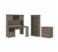 Bush Furniture Yorktown 60W Corner Desk with Hutch, Lateral File Cabinet and 5 Shelf Bookcase in Restored Gray - YRK002RTG