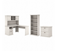 Bush Furniture Yorktown 60W L Shaped Desk with Hutch, Lateral File Cabinet and 5 Shelf Bookcase in Linen White Oak - YRK003LW
