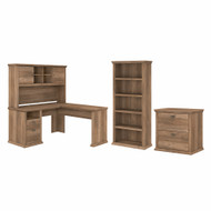 Bush Furniture Yorktown 60W L Shaped Desk with Hutch, Lateral File Cabinet and 5 Shelf Bookcase in Reclaimed Pine - YRK003RCP