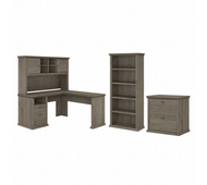 Bush Furniture Yorktown 60W L Shaped Desk with Hutch, Lateral File Cabinet and 5 Shelf Bookcase in Restored Gray - YRK003RTG