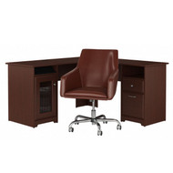 Bush Cabot Collection L-Shaped Desk with Chair Package Harvest Cherry - CAB059HVC