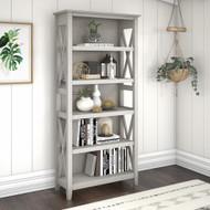 Bush Key West Tall 5 Shelf Bookcase Shiplap Linen White Oak - KWB132LW-03