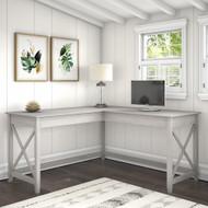 Bush Key West 60W L Shaped Desk Linen White Oak - KWD160LW-03