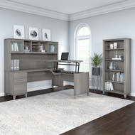 Bush Furniture Somerset 72W 3 Position Sit to Stand L Shaped Desk with Hutch and Bookcase in Platinum Gray - SET017PG