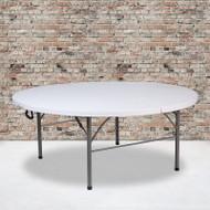 Flash Furniture Round Bi-Fold Granite White Plastic Folding Table - RB-183RFH-GG