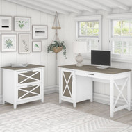 Bush Key West 54W Computer Desk with Storage and 2 Drawer Lateral File Cabinet Shiplap Gray - KWS008G2W