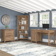 Bush Key West 54W Computer Desk with Lateral File Cabinet and Bookcase 5-Shelf Reclaimed Pine - KWS009RCP