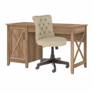 Bush Furniture Key West 54W Computer Desk with Storage and Mid Back Tufted Office Chair Reclaimed Pine - KWS020RCP