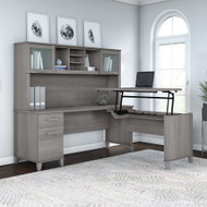 Bush Furniture Somerset 72W 3 Position Sit to Stand L Shaped Desk with Hutch in Platinum Gray - SET015PG