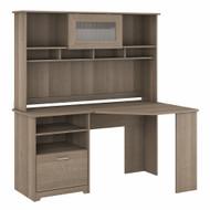 Bush Furniture Cabot 60W Corner Desk with Hutch in Ash Gray - CAB008AG
