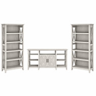 Bush Furniture Key West Tall TV Stand with a Set of 2 Bookcases Linen White Oak - KWS027LW
