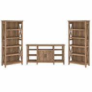 Bush Furniture Key West Tall TV Stand with a Set of 2 Bookcases Reclaimed Pine - KWS027RCP