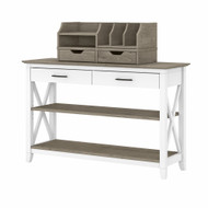Bush Furniture Key West Console Table with Storage and Desktop Organizers Shiplap Gray/Pure White - KWS028G2W