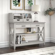 Key West Console Table with Storage and Desktop Organizers Linen White Oak - KWS028LW
