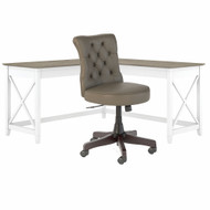Bush Furniture Key West 60W L-Shaped Desk with Mid Back Tufted Office Chair Shiplap Gray/Pure White - KWS045G2W