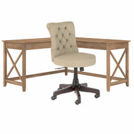 Bush Furniture Key West 60W L-Shaped Desk with Mid Back Tufted Office Chair Reclaimed Pine - KWS045RCP
