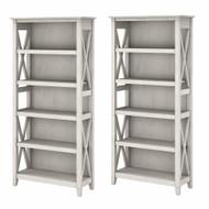 Bush Furniture Key West 5 Shelf Bookcase Set Linen White Oak - KWS046LW