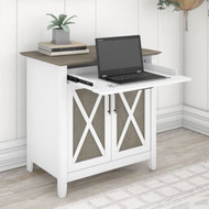 Bush Key West Secretary Desk with Keyboard Tray and Storage Cabinet Shiplap Gray/Pure White - KWS132G2W-03